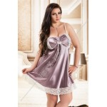 plus size-038  Gala  Dusty Lilac satin Chemise with White Lace Detail S-6XL Babydolls-Nine X